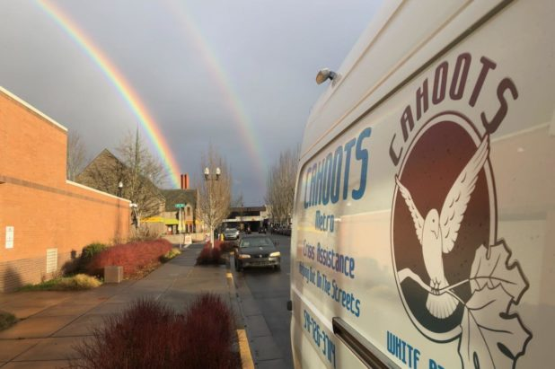 CAHOOTS van with rainbow